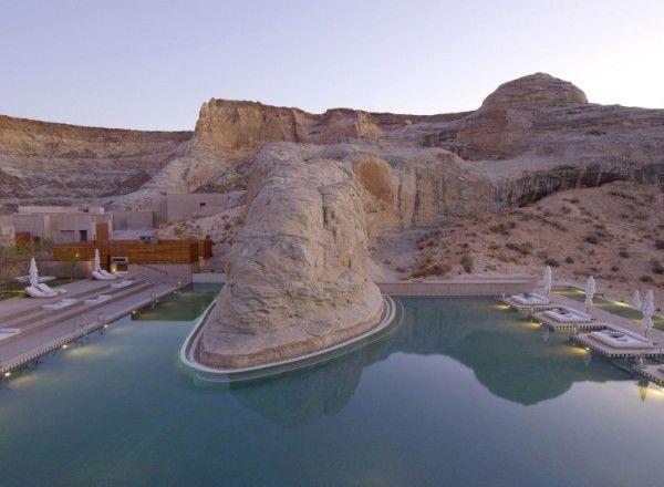 Amangiri in utah pool constructed around the natural rock for Pool design utah
