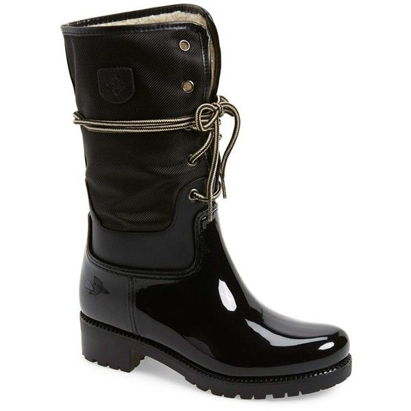 """däv 'Calgary' Waterproof Tall Boot, 1 1/4"""" heel ($88) ❤ liked on Polyvore featuring shoes, boots, black, mid-calf boots, lace up boots, high lace up boots, high boots, waterproof boots and black patent leather boots"""
