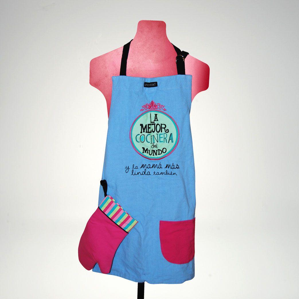 Dia de las Madres: Mandil de Mamá con aplicación de guante y bolsa ...