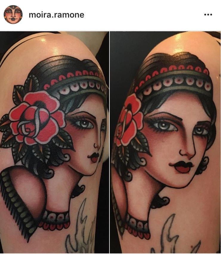 Pin By Danielle Lingle On Gypsies Traditional Tattoo Woman Face Face Tattoos For Women Traditional Tattoo