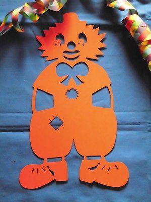 Fasching Deko fensterbild tonkarton cooler clown rot orange 34 cm karneval