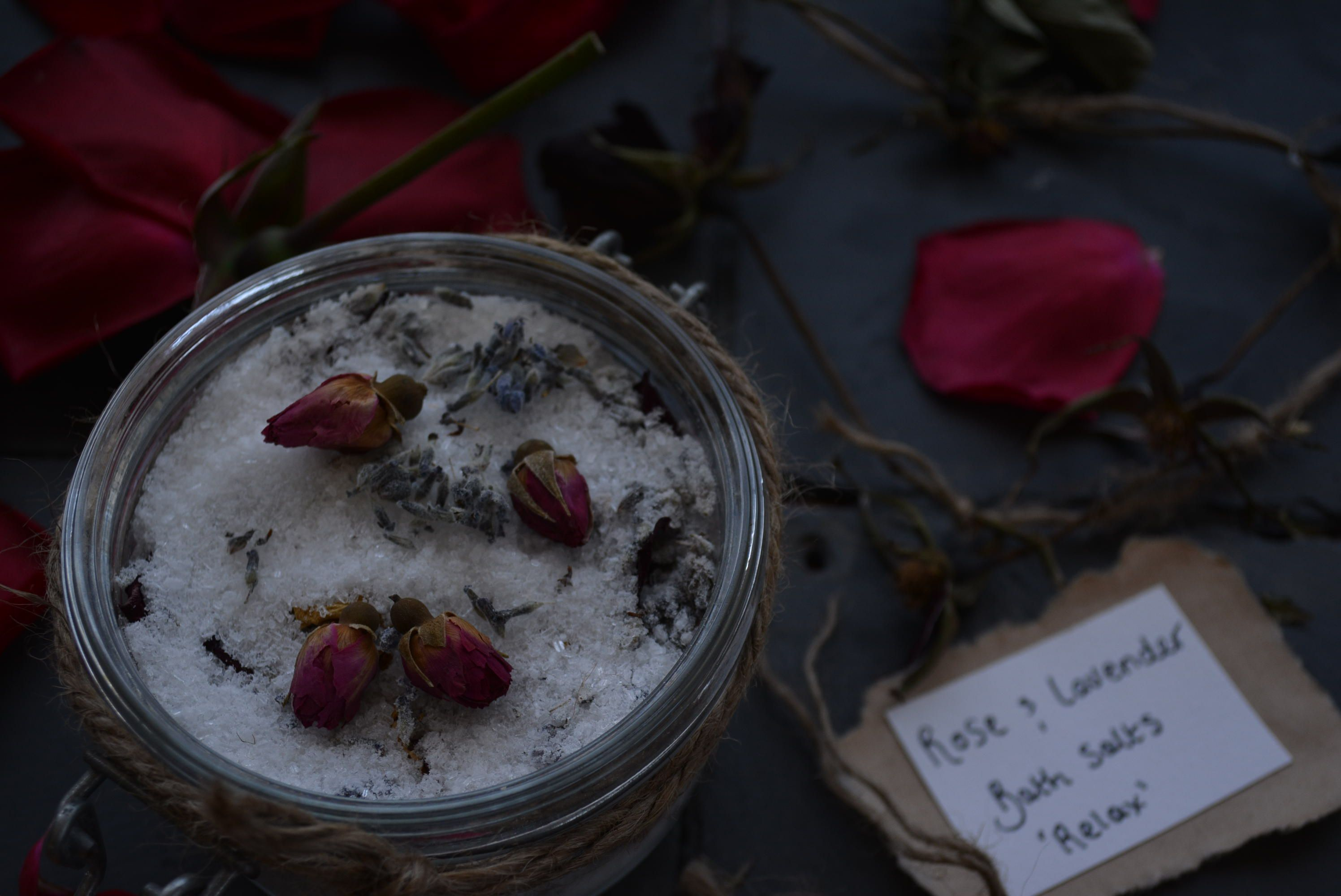 Lavender and rose bath salts to soothe and relax. DIY at home gifts www.countrykitchennz.com