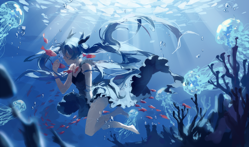sink then float anime Anime wallpaper, Hatsune miku, Miku