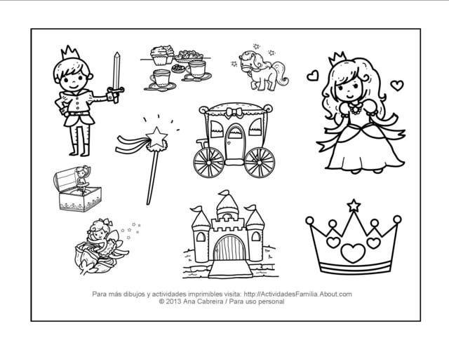 10 dibujos de princesas para imprimir y colorear  Dibujos de