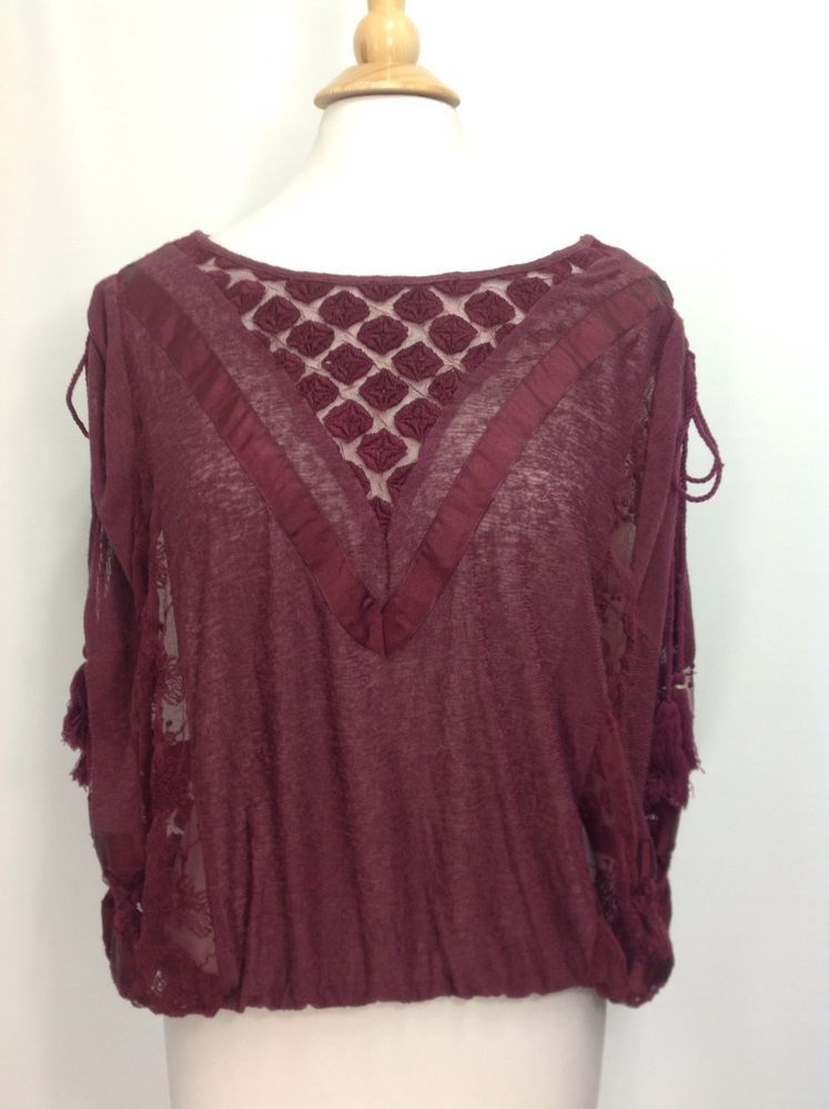 Free People New Romantics M Burgundy Sleeveless Sheer embroidered Top #FreePeople #Blouse