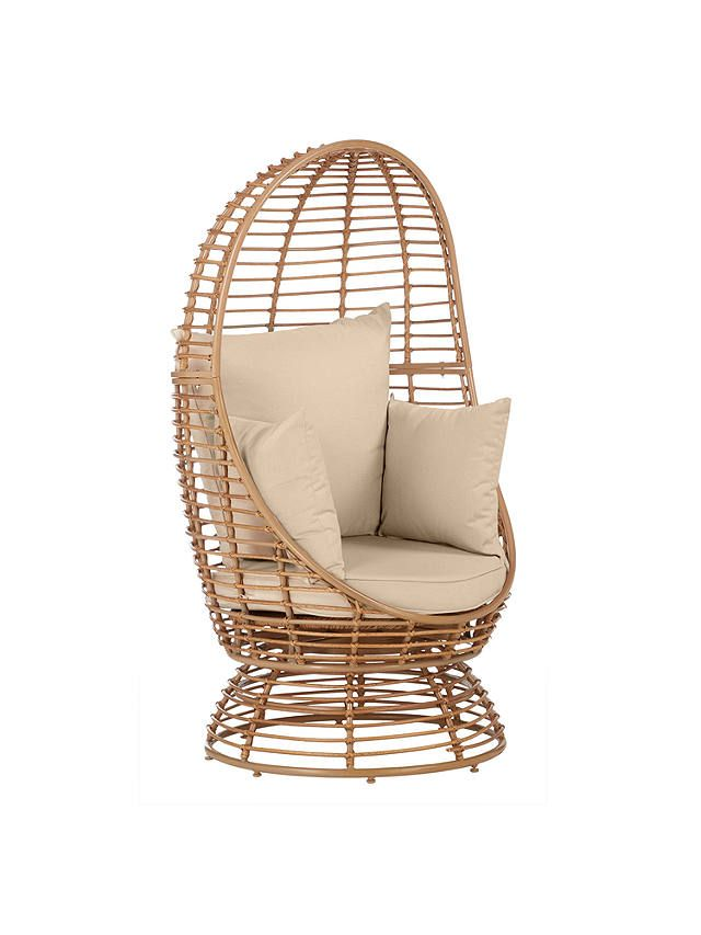 John Lewis & Partners Cabana Swivel Pod Garden Chair, Natural is part of garden Seating Pod - Striking pod design 360° turning mechanism at base of seat Wicker effect frame Comes with 1 seat cushion, 1 back cushions & 2 side pillows Sit comfortably in the home or garden and take in all your surroundings with our cocoon swivel pod chair  A woven lounging range with wicker effect frames, Cabana features a double sofa pod, 'statement' pod and a hanging pod which are all suitable for outdoor use