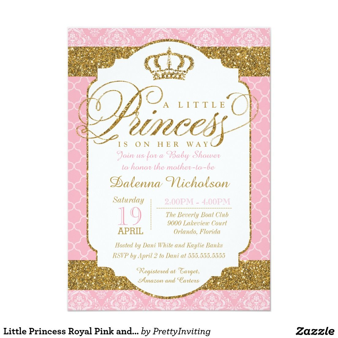Little Princess Royal Pink and Gold Baby Shower Invitations ...