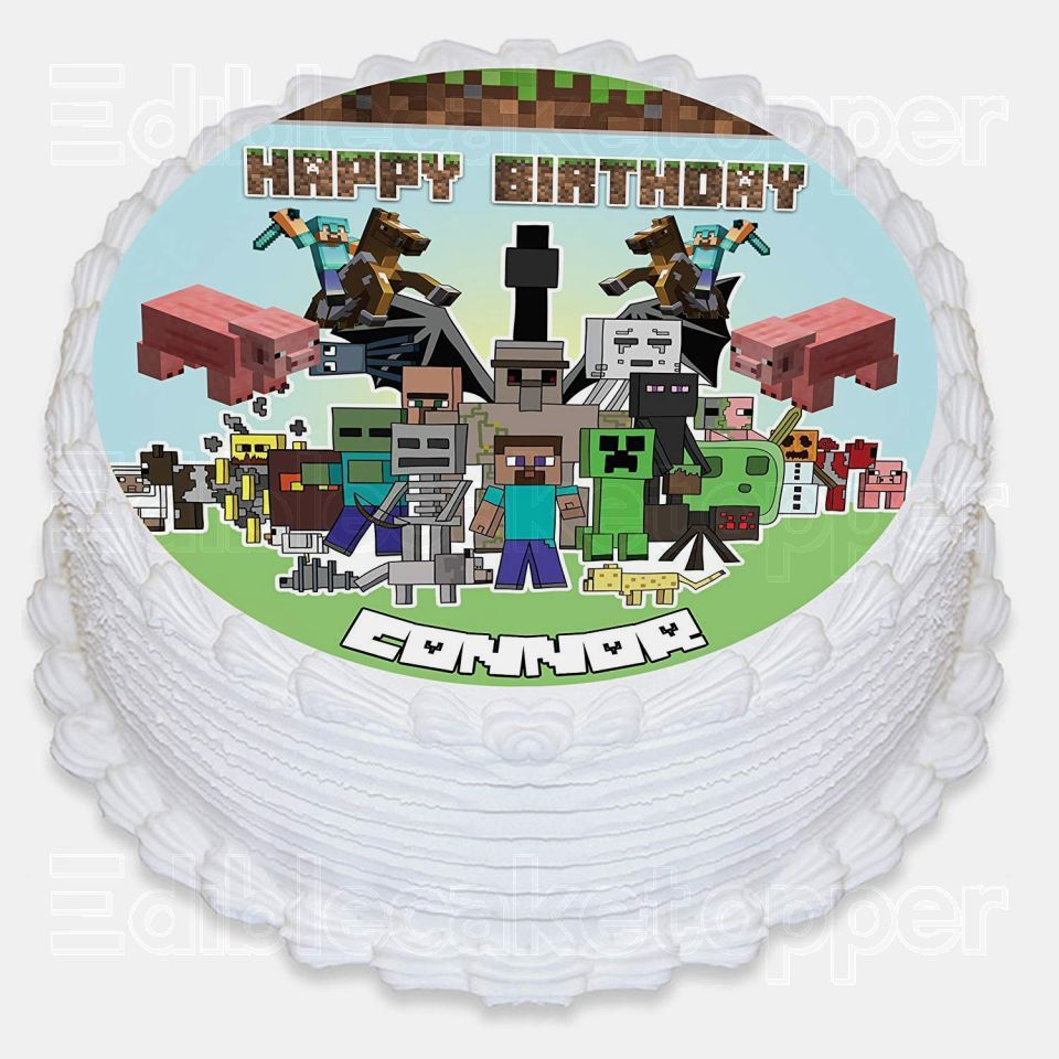 MINECRAFT Edible Image Cake Topper Personalized Birthday Sheet