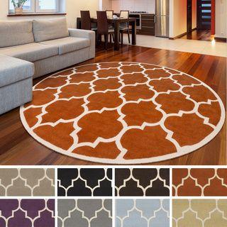 Nuloom Handmade Alexa Moroccan Trellis Wool Area Rug 6 Round By