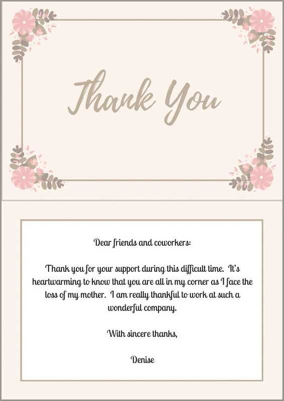 Sample Wording For A Funeral Thank You Note Coworkers Who Offered Support Loveliveson
