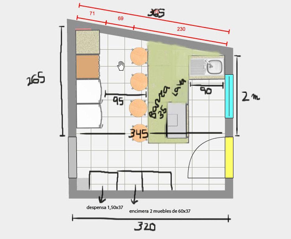 Cocina con isla dimensiones buscar con google planos for Medidas estandar isla cocina
