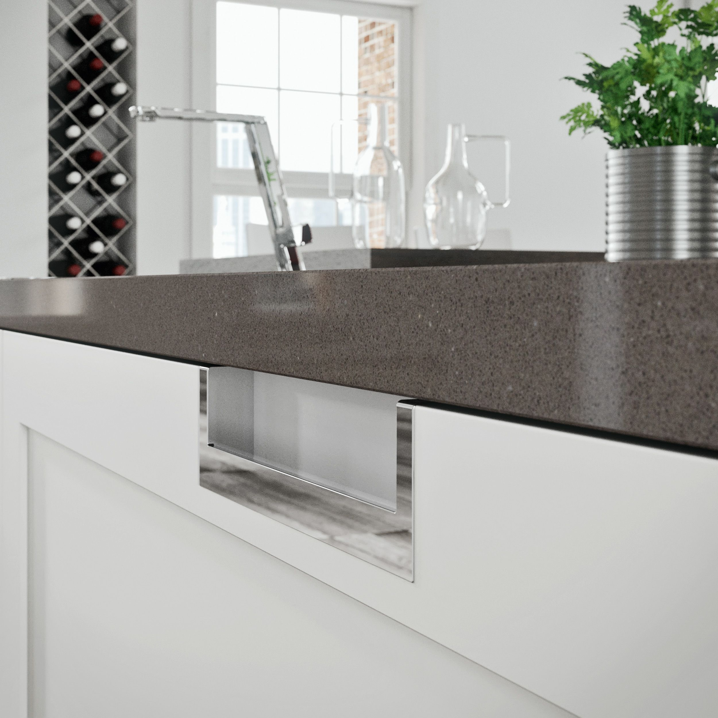 Snaidero Lux Kitchen Cabinet Handle Is Considered A Non Handle Handle Recessed Under The Counter Modern Kitchen Handles Modern Kitchen Modern Kitchen Design