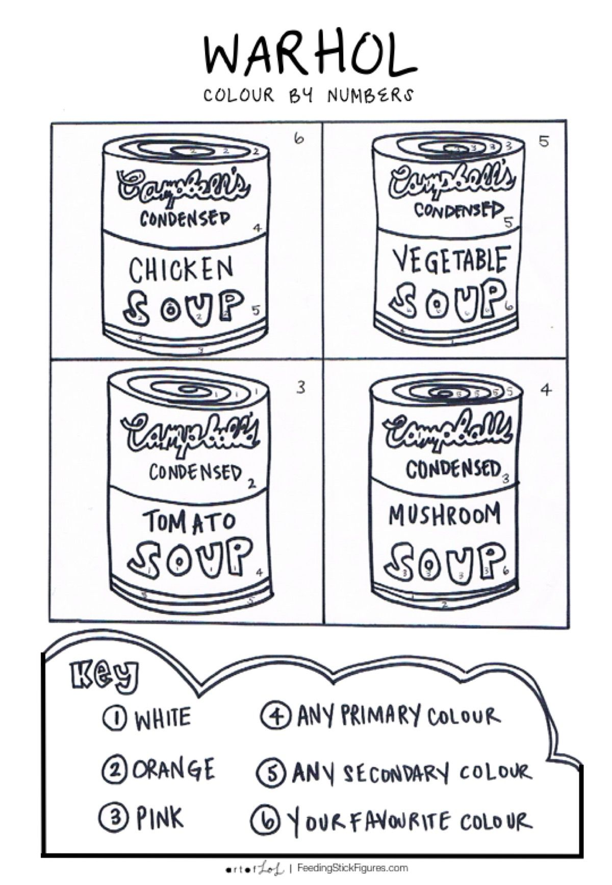 Warhol Pop Art Colour By Numbers Activity Sheet Pop Art Drawing