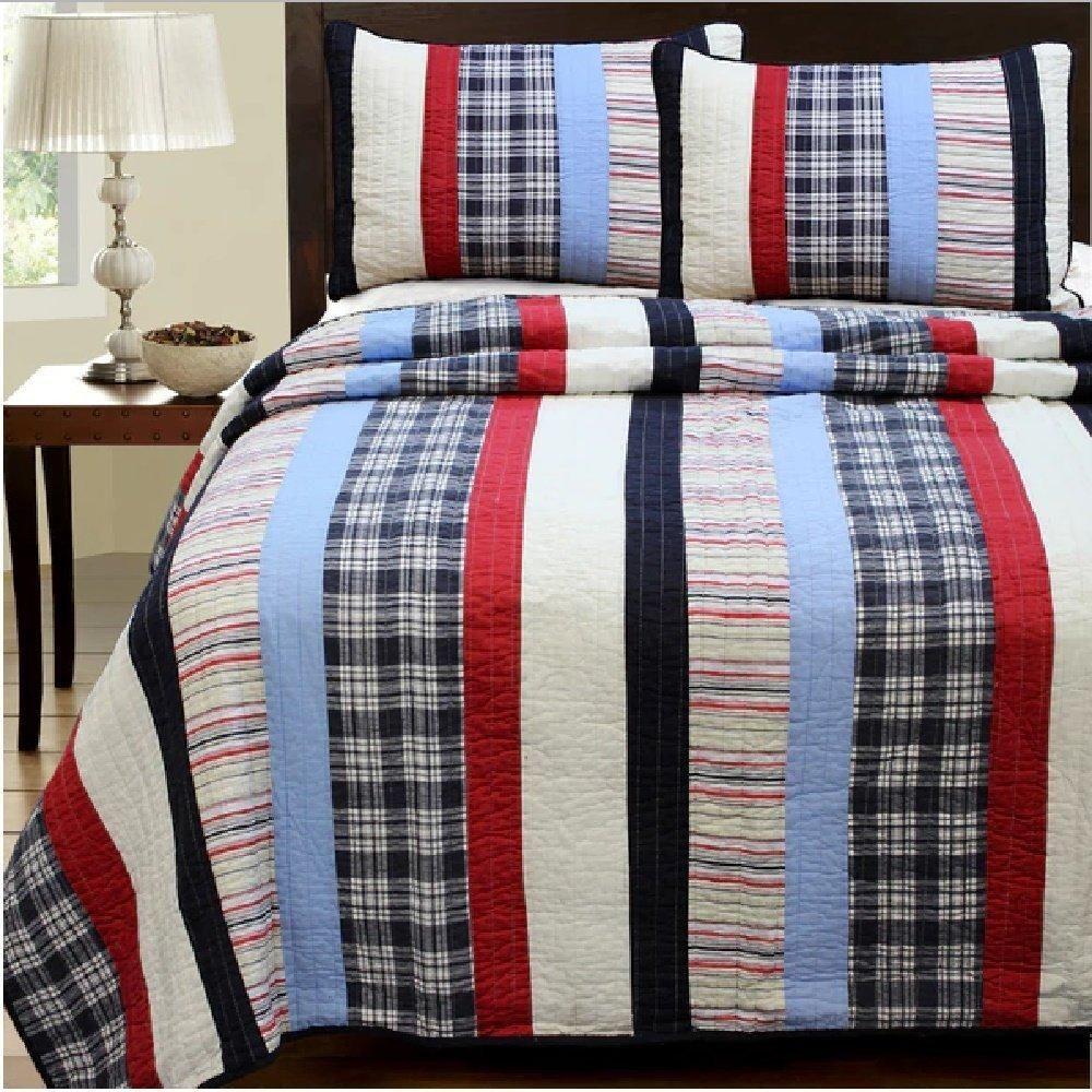 BEAUTIFUL  REVERSIBLE BLUE NAVY RED WHITE PLAID CABIN STRIPE COTTON  QUILT SET