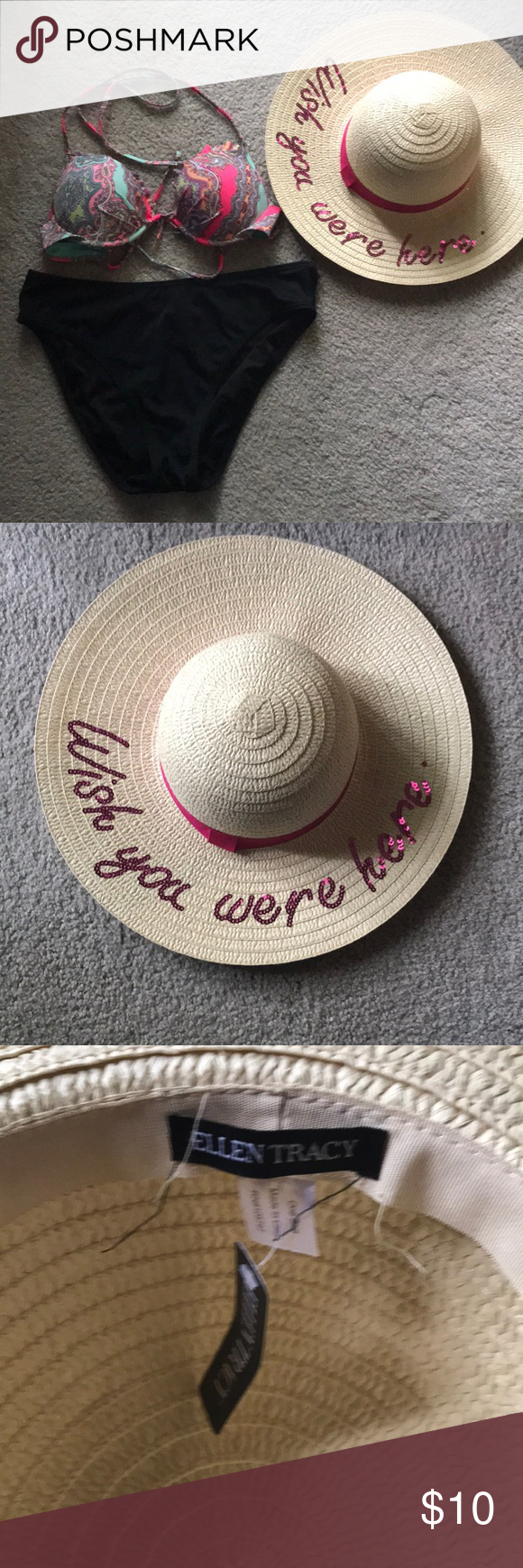 """c32a9c6ec57eb6 Straw and hot pink hat with """"Wish you were here sentiment"""" on it! Great  coverage for sun protection and a trendy accent for your summer photos! Ellen  Tracy ..."""