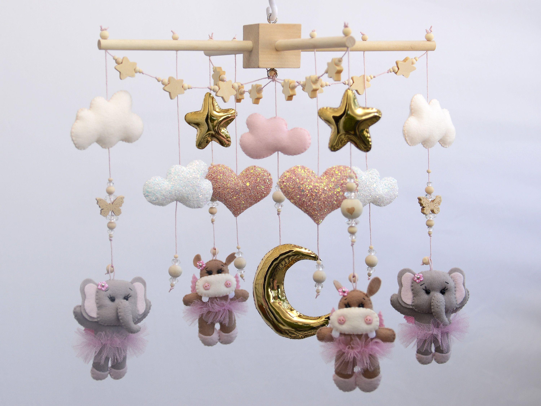 Baby Girl Felt Elephant Hippo Mobile Elephant Baby Mobile Wooden Baby Mobile
