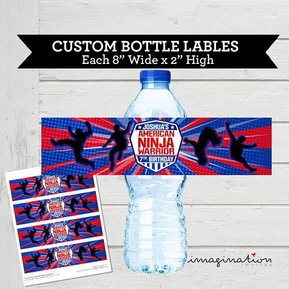 New Official American Ninja Warrior Water Bottle BPA-free plastic Blue or Red