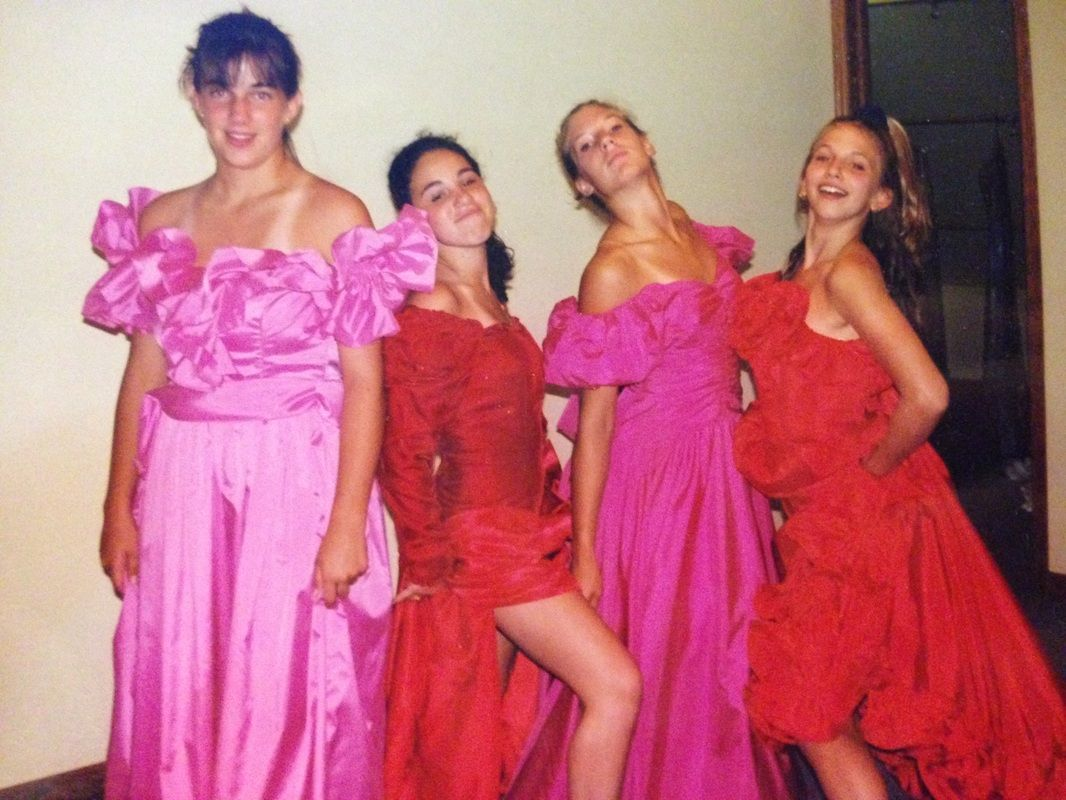 some of the cousins as bridesmaids | Girls pink dress, 80s