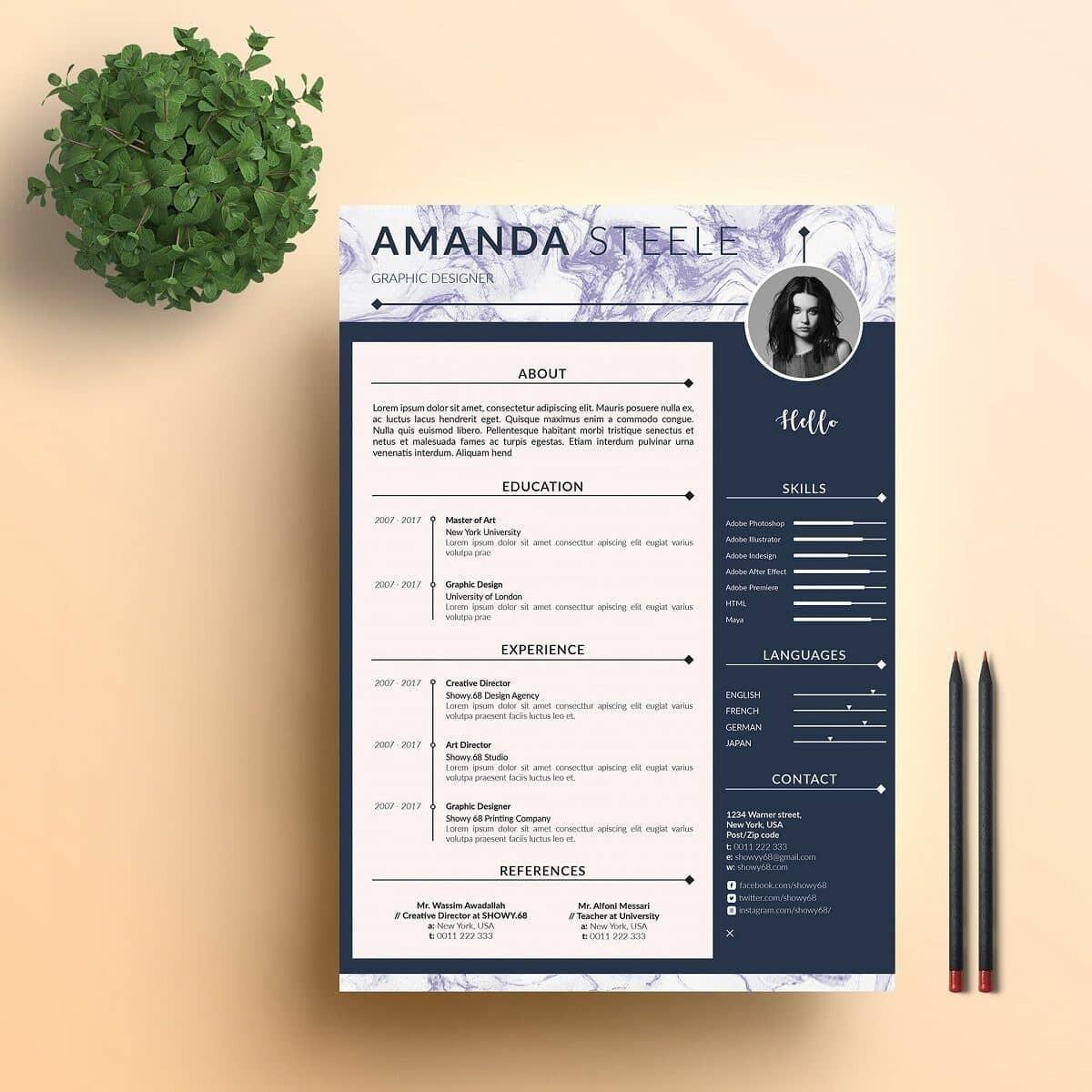 Modern Looking Resume With Marble Header Career Advice Pinterest