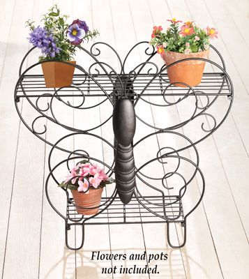 Scrolling 2 Tier Iron Butterfly Plant Stand From Collections Etc Plant Stand Butterfly Plants Flower Stands