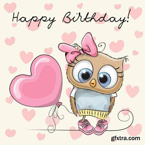 Cute Cartoon Owls With Images Happy Birthday Greetings Happy