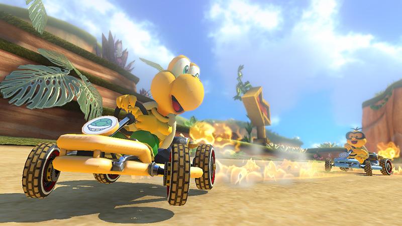Koopa Troopa and Lakitu on Shy Guy Falls   Mario Kart 8