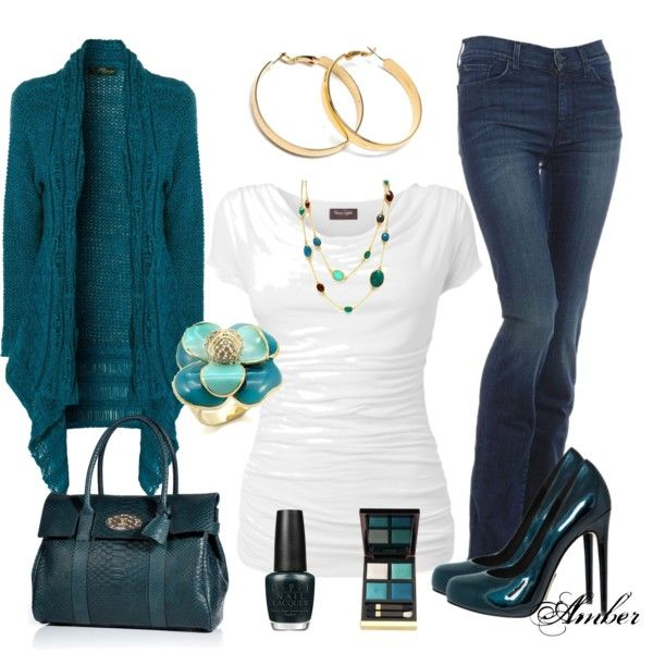 Teal/Turquoise & Gold by stay-at-home-mom on Polyvore | Clothing ...
