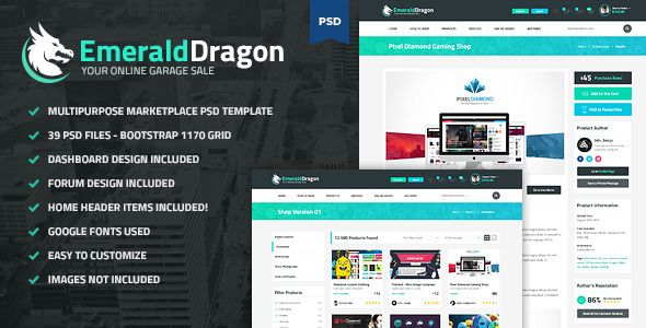 Auction Website Template Emerald Dragon  Psd Multipurpose Marketplace  Emerald Dragon