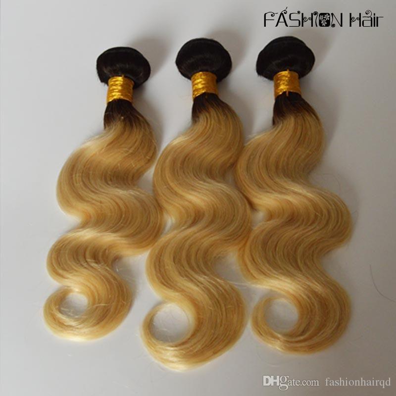 Ombre Body Wave Brazilian Human Hair Bundles T1b 613 Two Tone Virgin