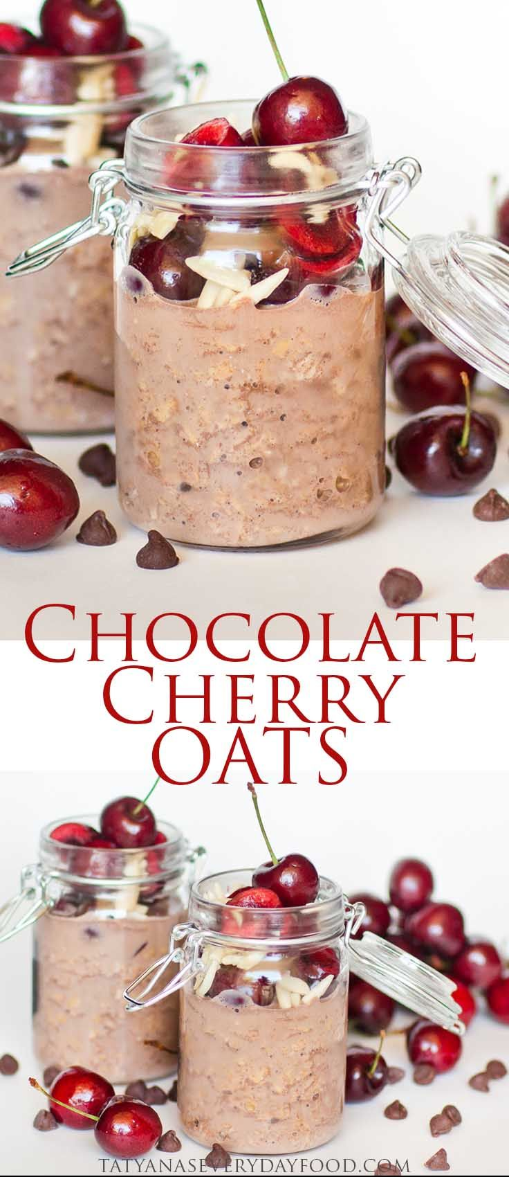 chocolate cherry overnight oats chocolate overnight oats overnight oats tatyana s everyday food on hebbar s kitchen recipes oats id=22843