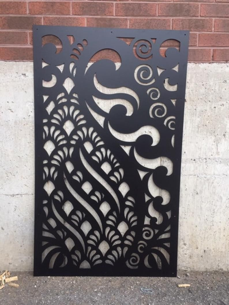Metal Privacy Screen Fence Decorative Panel Wall Art Etsy In 2020 Etsy Wall Art Privacy Screen Panel Wall Art