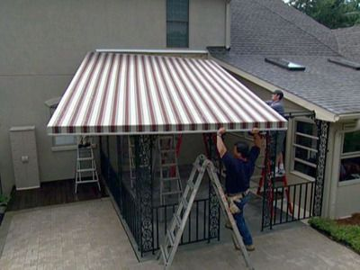 Position Awning Frame Against House And Attach