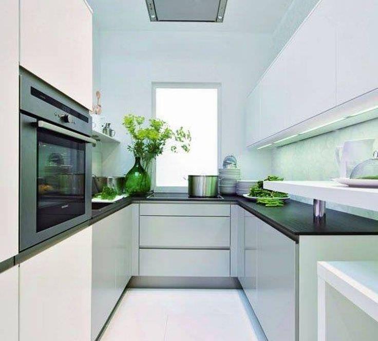 Modern Furniture Small Kitchen Decorating Design Ideas 2011: Narrow U Shaped Kitchen Design