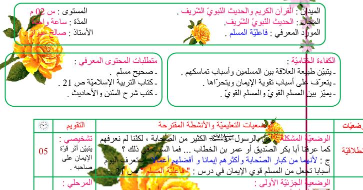 مذكرات فاعلية المسلمالإيمان بالملائكة السنة الثانية متوسط الجيل الثاني Memorandum Muslim Faith Generation