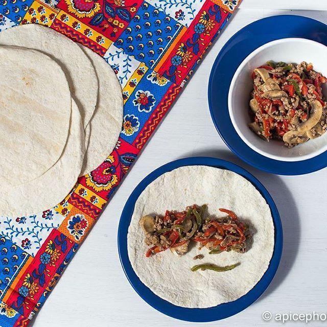 Fajitas mexicanas de verduras y carne picada de ternera. #gourmetbilbao
