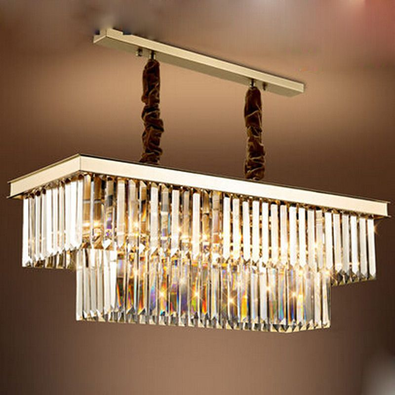 goedkope t rechthoekige crystal gold hanglamp voor eetkamer
