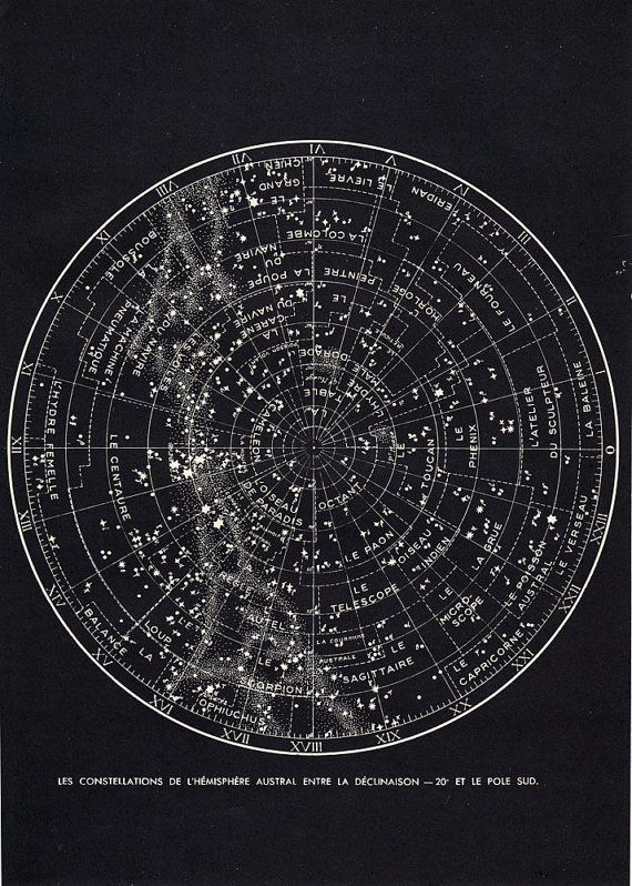 Southern Sky Star Chart Astronomy Print 1940S Constellations Map