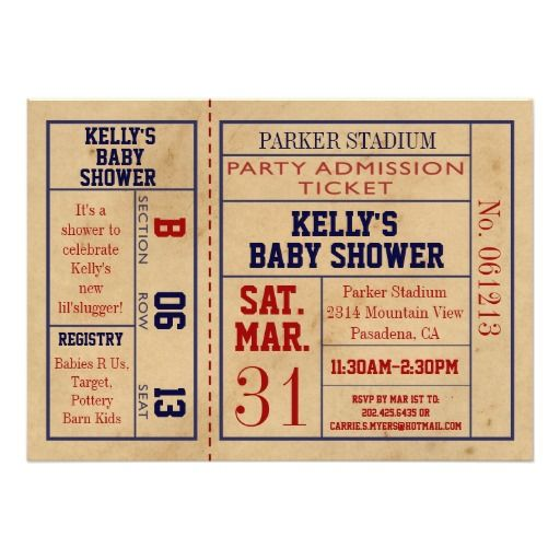 Vintage Sports Ticket Baby Shower Invite -Football Sports baby - ticket invitation template