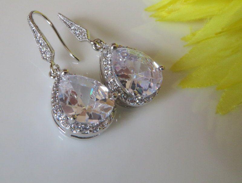 Bridal Jewelry ,Teardrop, Dangle Cubic zirconia, Bridal Jewelry, Bride Earrings, White Gold Earrings,  Rhodium Plated, Free US Shipping
