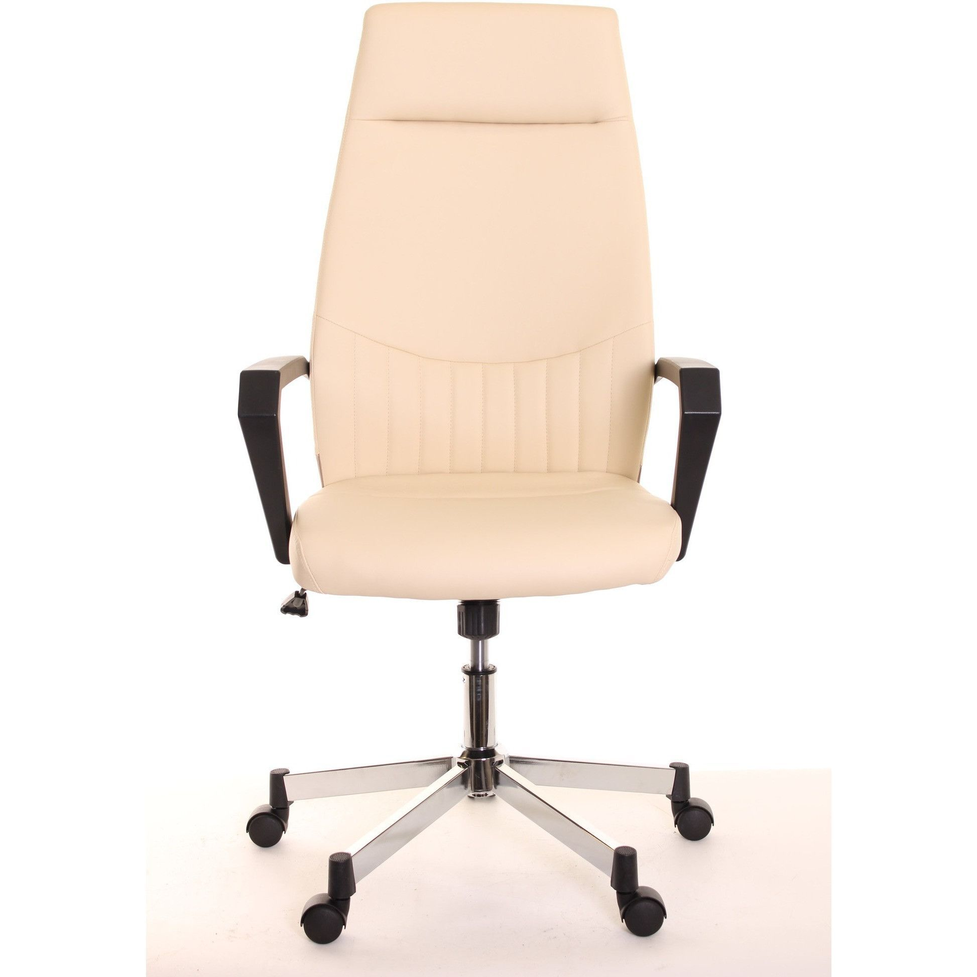 High Back Leather Task Chair Ergonomic Ivory By Timeoffice Chair