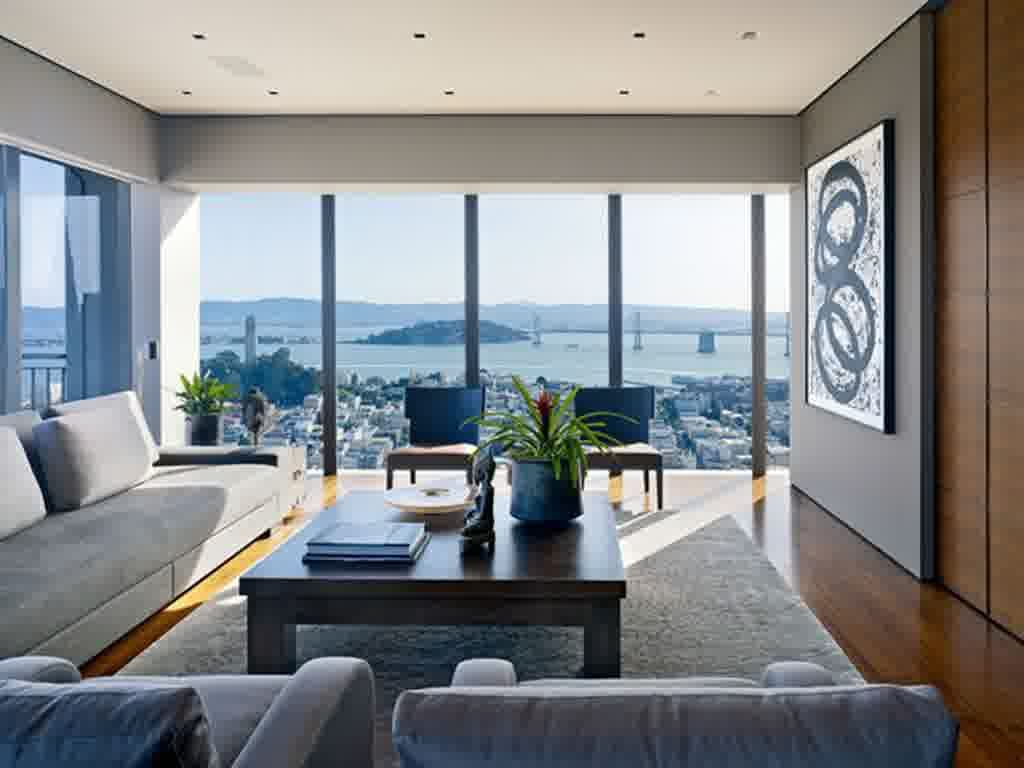 Designing Living Room Layout New Appeal Large Windows Living Room With Amazing City View For Inspiration Design