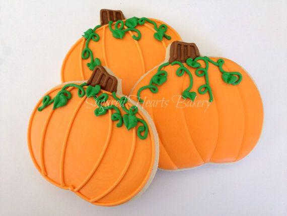 Harvest Fall Halloween Pumpkin Cookies 1 by SugaredHeartsBakery - halloween pumpkin cookies decorating