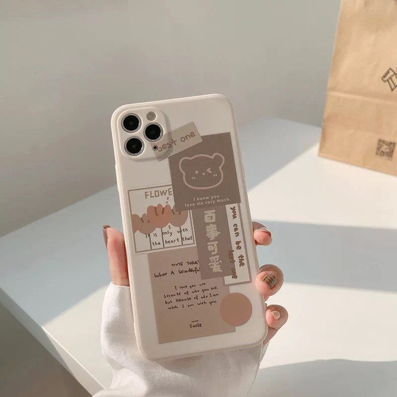 Kawaii Chocolate Bear Moodboard Phone Cases