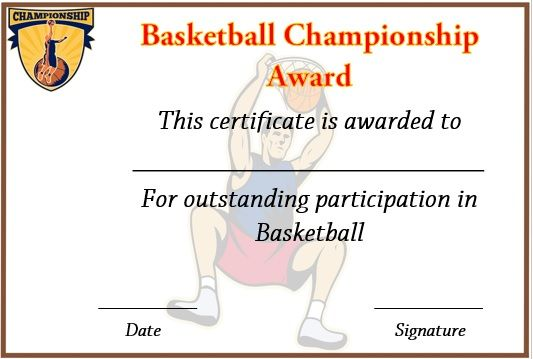 Basketball Championship Certificate Template  Basketball