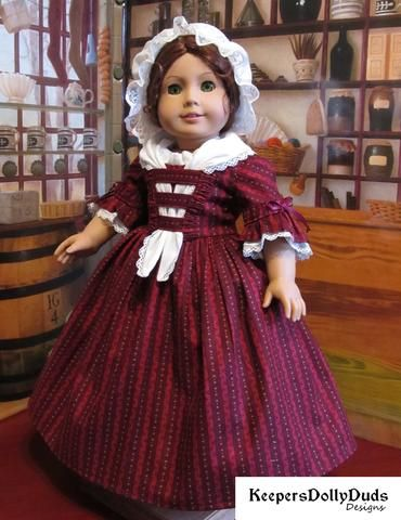 Keepers Dolly Duds Colonial Day Dress PDF doll clothes pattern designed to fit 18 inch American Girl dolls #historicaldollclothes