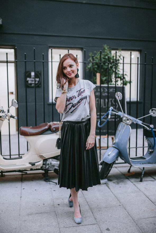 d643519583 midi skirt + tee   perfect party look   www.fashioninthestreet.com ...