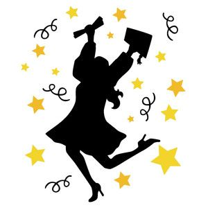 Photo of Silhouette Design Store: Jumping Graduate Girl