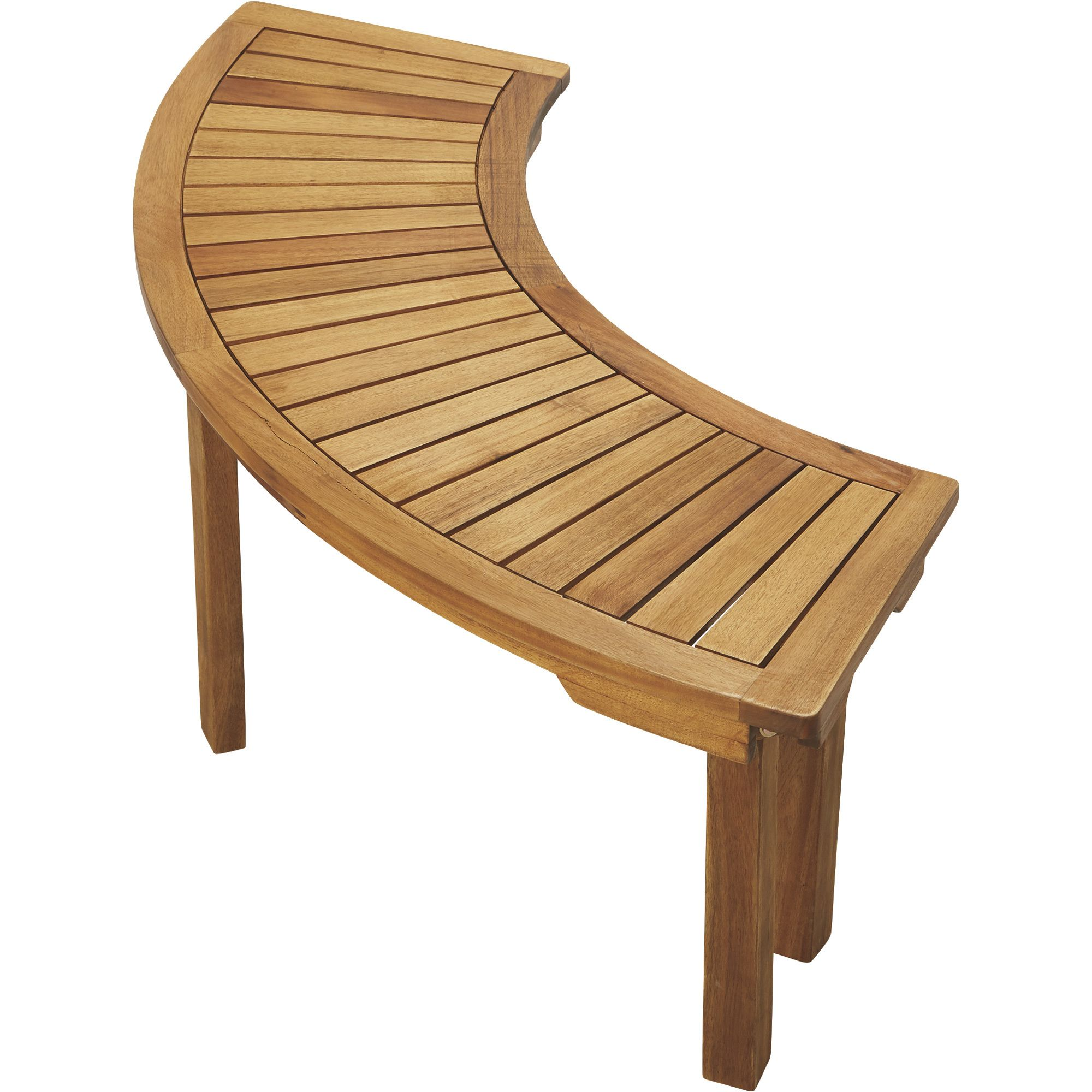 Curved Acacia Wood Backless Bench Natural Acacia Wood Wood Deck Tiles Curved Bench