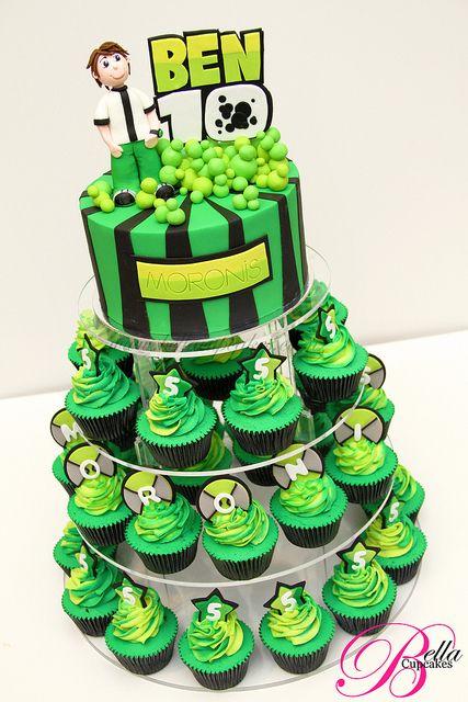 Ben 10 Cupcake Tower Ben 10 Birthday Ben 10 Birthday Party Ben