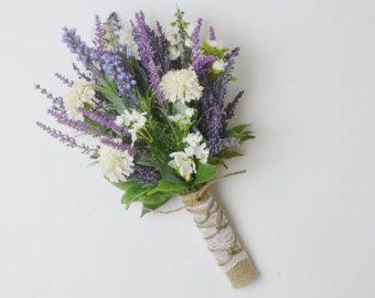 Wildflower Bridal Bouquet Rustic Bouquet Lavender Wildflower